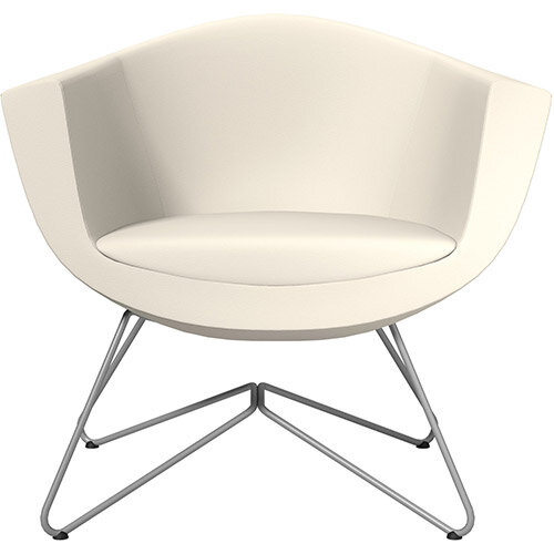 Sorriso Armchair with Wire Frame White Softline Leather Look Seat &Metallic Silver Base with Standard Glides for Soft Floors - Perfect Seating Solution for Breakout, Reception Areas &Boardroom