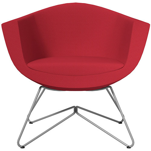 Sorriso Armchair with Wire Frame Vivid Red Sprint Fabric Seat &Metallic Silver Base with Felt Glides for Hard Floors - Perfect Seating Solution for Breakout, Reception Areas &Boardroom