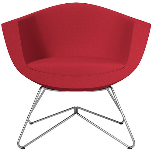 Sorriso Armchair with Wire Frame Vivid Red Sprint Fabric Seat &Satine Base with Felt Glides for Hard Floors - Perfect Seating Solution for Breakout, Reception Areas &Boardroom