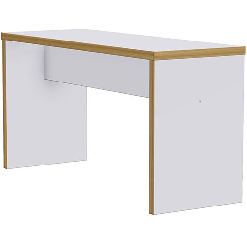 Frovi BLOCK Medium White Panel Bench Poseur Table With Ply Effect Edge W1900xD700xH1050mm