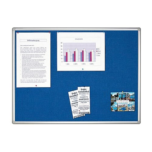 Franken Blue Felt Pin Board PRO Aluminium Frame 1500x1000mm PT830903