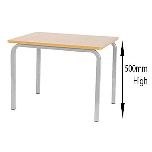 Single Student Preschool Table Beech White Legs 600x600x500mm
