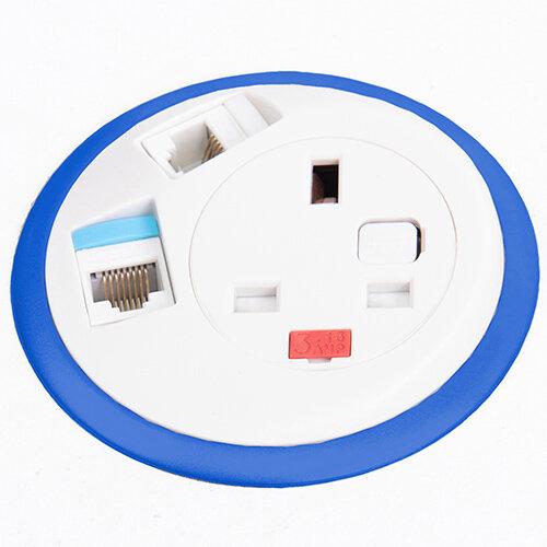 Pixel In-surface Power Module with 1 x UK Socket, 2 x RJ45 Sockets - White