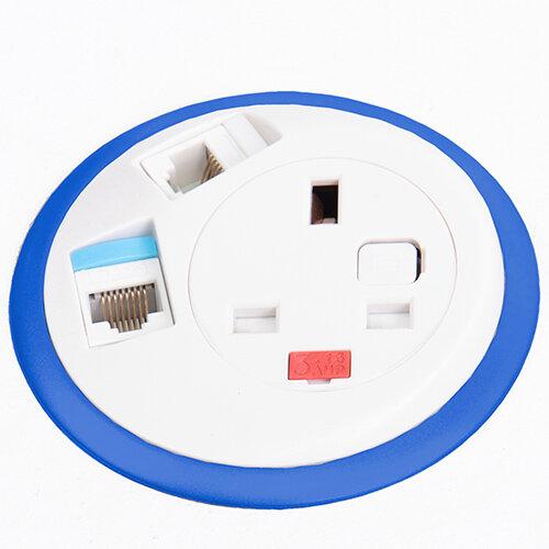 Pixel In-surface Power Module with 1 x UK Socket, 2 x RJ45 Sockets - Yellow