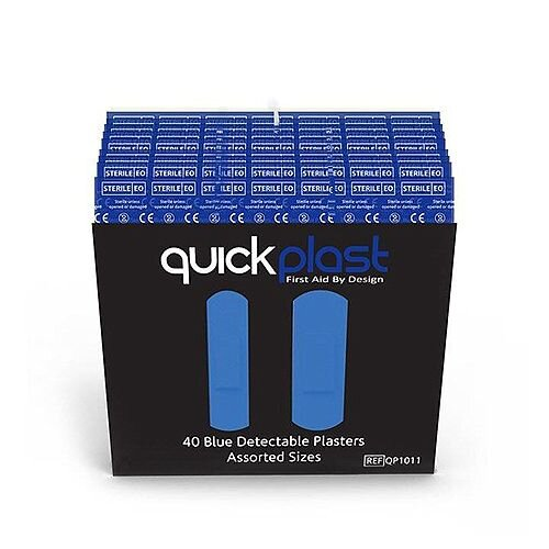Quickplast Blue Detectable Refill 40 Assorted Plasters