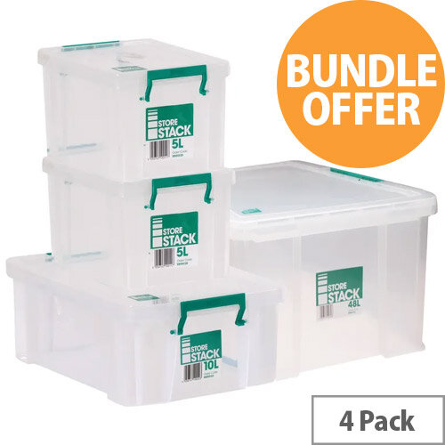 Storestack Box Bundle 2x5L 10L 48L Pack of 4 48LBUNDLE