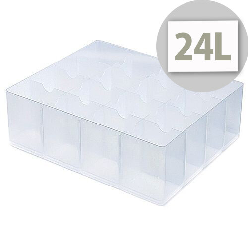 StoreStack Large Tray Clear With Fixed Dividers That Create 16 Compartments. Ideal for Hospitals, Offices, Warehouses, Homes, Schools, Paramedics &More.