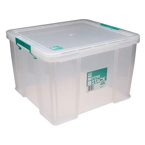 StoreStack 48 Litre Storage Box Clear W490xD440xH320mm RB90125