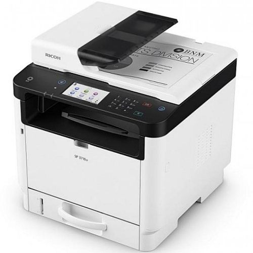 Ricoh SP3710SF A4 Mono Laser 4-in-1 Multifunction Printer - 32ppm - 4.3in Touchscreen Panel - Scan, Copy, Fax -  Ethernet (100BASE-TX/10BASE-T), USB 2.0 Type B -  Automatic Duplex - 1200x1200dpi - WiFi Option