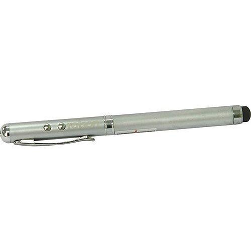 Rolson 4 in 1 Laser Pointer Pen – Laser Pointer, Stylus Pen For Smartphones &Tablets, 5000-7000mcd LCD Light, Standard Ballpoint Pen &Silver Finish (35985)