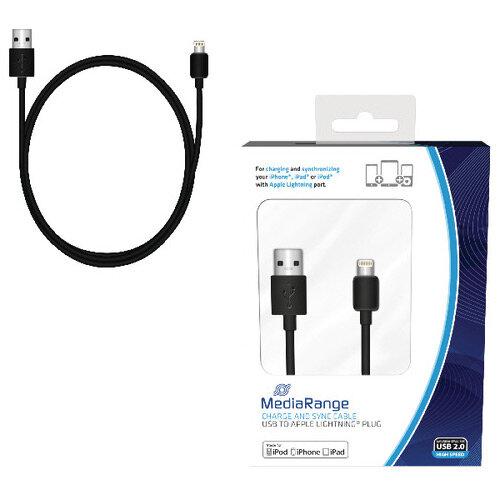 Reviva 3A Twin USB In Car Charger + MediaRange Chrg Sync Cbl USB 2.0 to Apple Lightng Bundle REV12502