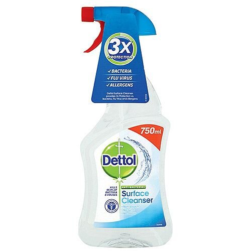 Dettol Anti-Bacterial Surface Cleanser Spray 750ml. Perfect For Everyday Use Killing 99.9% Of Bacteria. Doesn't Contain Bleach Making It Safe For Use In Your Kitchen, On Chopping Boards, Baby Equipment &More.