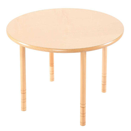Flexi Round Height Adjustable Table 64-76cm Beech Finish