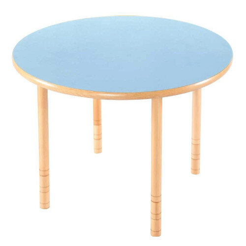 Flexi Round Height Adjustable Table 48-58cm Blue Top
