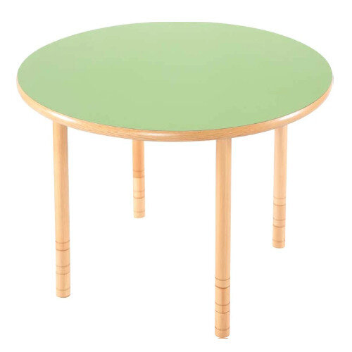 Flexi Round Height Adjustable Table 48-58cm Green Top