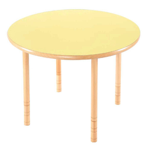 Flexi Round Height Adjustable Table 64-76cm Yellow Top