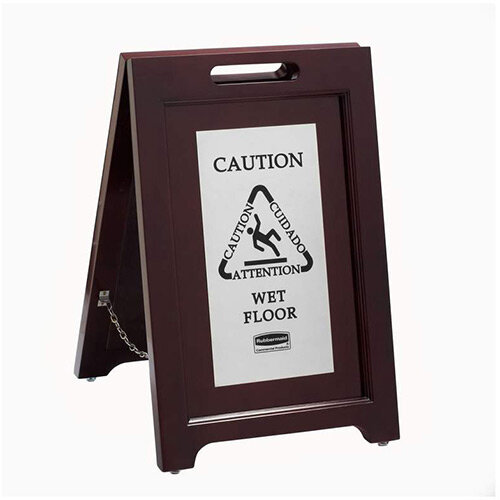 Rubbermaid 2-sided Caution Wet Floor Multilingual Safety Sign Wooden with Stainless Steel Plate