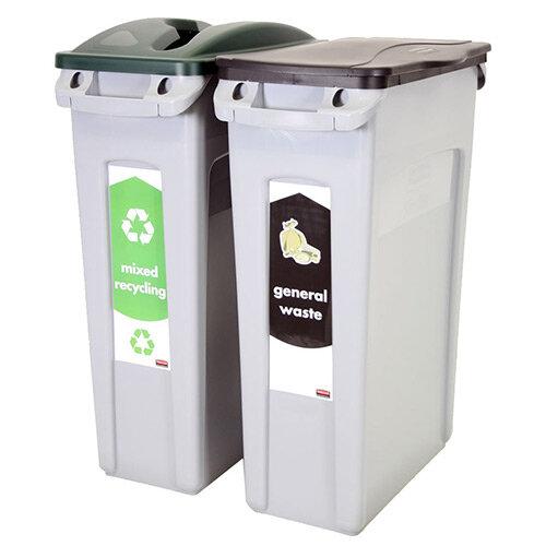 Rubbermaid Recycling Starter Pack Two Stream Slim Jim Starter Pack 87L