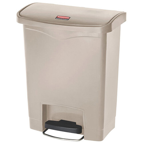 Rubbermaid Resin Slim Jim 30 Litre Front Step Step-On Pedal Bin Beige