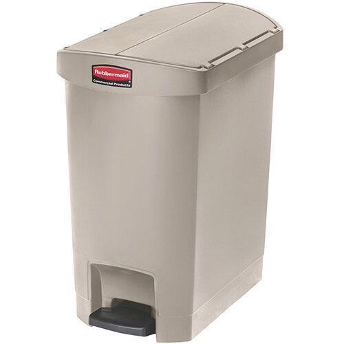 Rubbermaid Resin Slim Jim 30 Litre End Step Step-On Pedal Bin Beige
