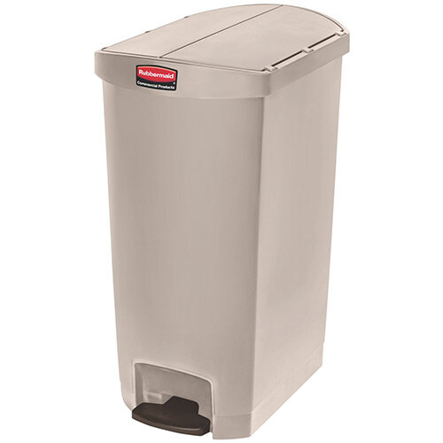 Rubbermaid Resin Slim Jim 68 Litre End Step Step-On Pedal Bin Beige