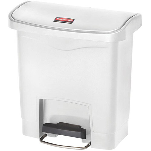 Rubbermaid Resin Slim Jim 15 Litre Front Step Step-On Pedal Bin White