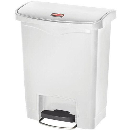 Rubbermaid Resin Slim Jim 30 Litre Front Step Step-On Pedal Bin White