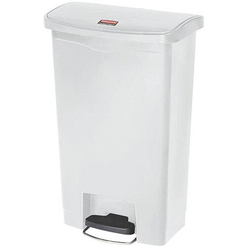 Rubbermaid Resin Slim Jim 50 Litre Front Step Step-On Waste Basket White