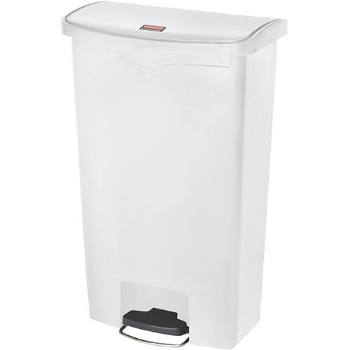 Rubbermaid Resin Slim Jim 68 Litre Front Step Step-On Pedal Bin White