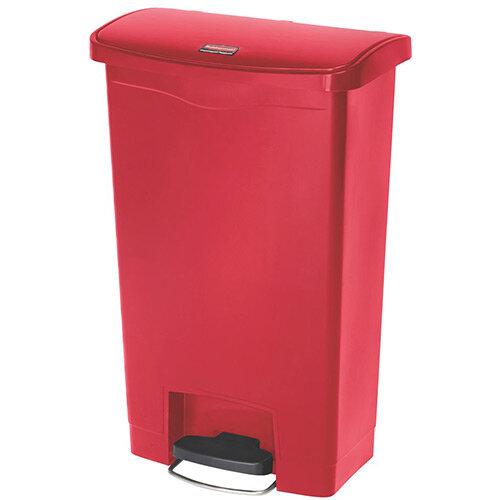 Rubbermaid Resin Slim Jim 50 Litre Front Step Step-On Waste Basket Red