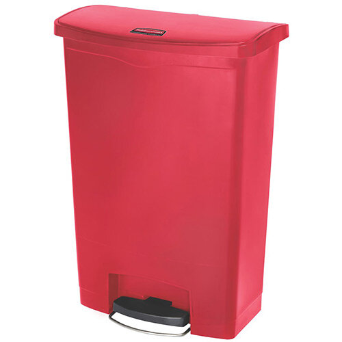 Rubbermaid Resin Slim Jim 90 Litre Front Step Step-On Pedal Bin Red