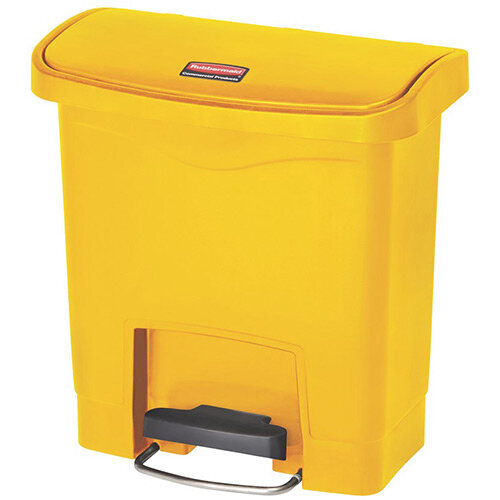 Rubbermaid Resin Slim Jim 15 Litre Front Step Step-On Pedal Bin Yellow
