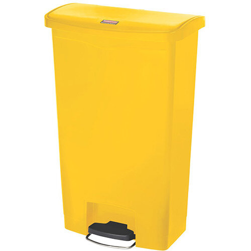 Rubbermaid Resin Slim Jim 68 Litre Front Step Step-On Pedal Bin Yellow
