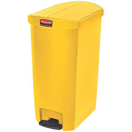 Rubbermaid Resin Slim Jim 68 Litre End Step Step-On Pedal Bin Yellow