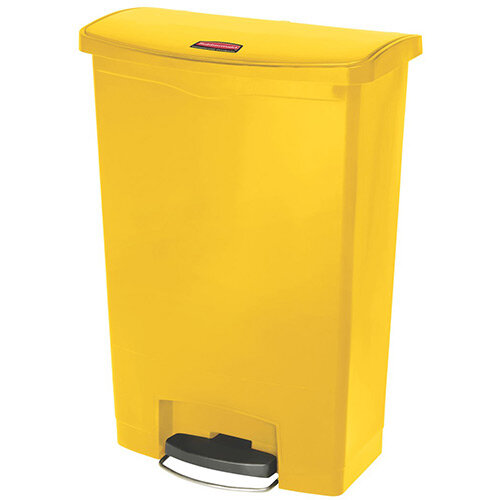 Rubbermaid Resin Slim Jim 90 Litre Front Step Step-On Pedal Bin Yellow