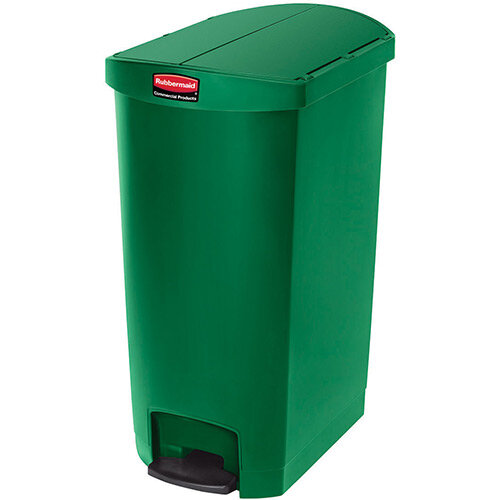 Rubbermaid Resin Slim Jim 68 Litre End Step Step-On Pedal Bin Green