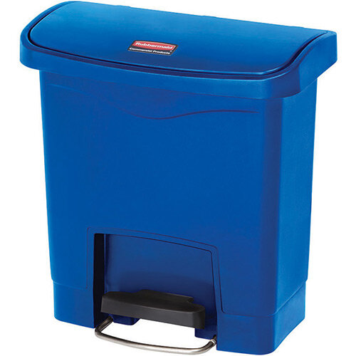 Rubbermaid Resin Slim Jim 15 Litre Front Step Step-On Pedal Bin Blue