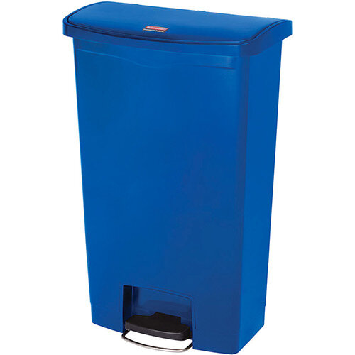 Rubbermaid Resin Slim Jim 68 Litre Front Step Step-On Pedal Bin Blue