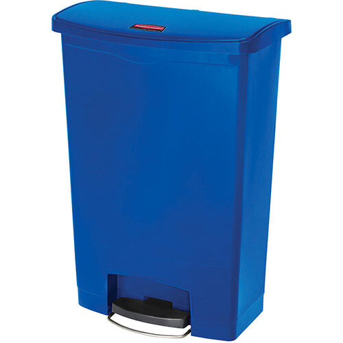 Rubbermaid Resin Slim Jim 90 Litre Front Step Step-On Pedal Bin Blue