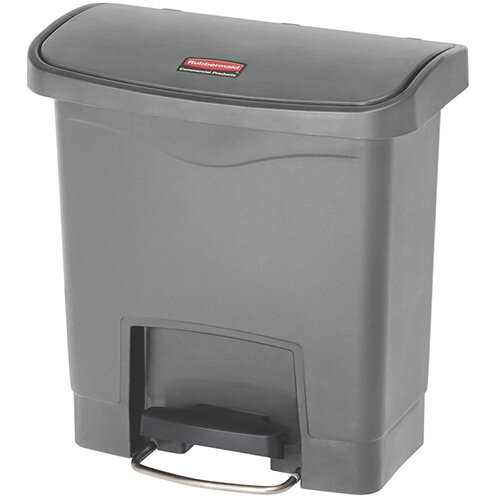 Rubbermaid Resin Slim Jim 15 Litre Front Step Step-On Pedal Bin Grey