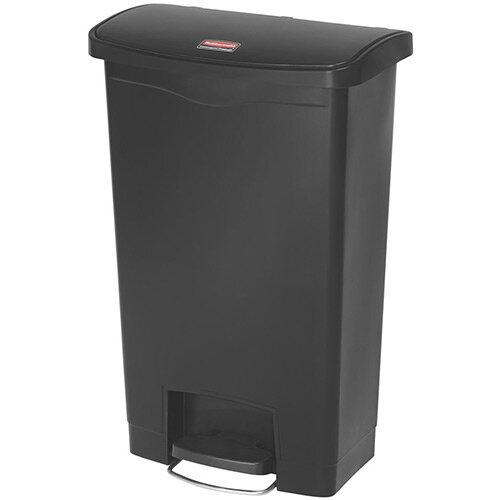 Rubbermaid Resin Slim Jim 50 Litre Front Step Step-On Waste Basket Black