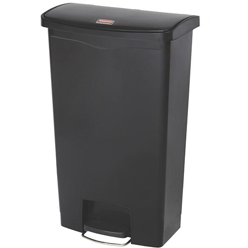Rubbermaid Resin Slim Jim 68 Litre Front Step Step-On Pedal Bin Black