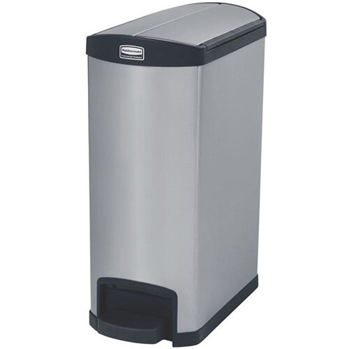 Rubbermaid Metal Slim Jim 50 Litre End Step Step-On Stainless Steel Pedal Bin Black