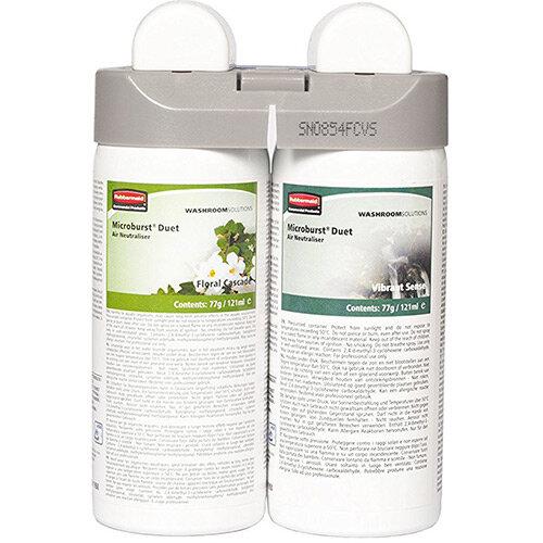 Rubbermaid Microburst Duet Fragrance Airfreshener Dispenser Refill Floral Cascade &Vibrant Sense Refills