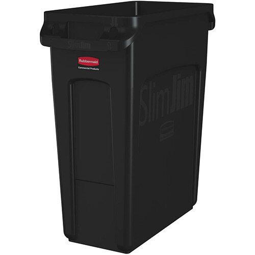 Rubbermaid 60L Slim Jim Plastic Rubbish Bin With Venting Channels Waste Receptacle Black