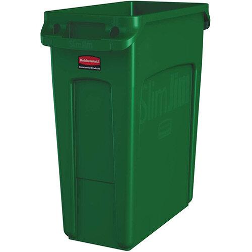 Rubbermaid 60L Slim Jim Plastic Rubbish Bin With Venting Channels Waste Receptacle Green