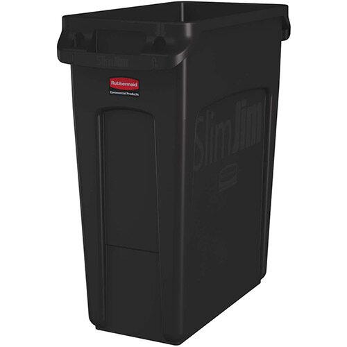 Rubbermaid 60L Slim Jim Plastic Rubbish Bin With Venting Channels Waste Receptacle Brown