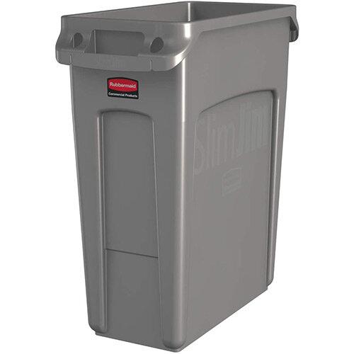 Rubbermaid 60L Slim Jim Plastic Rubbish Bin With Venting Channels Waste Receptacle Beige