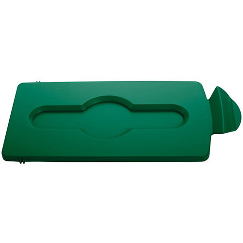 Rubbermaid Slim Jim Recycling Station Stream Topper Green Closed Lid