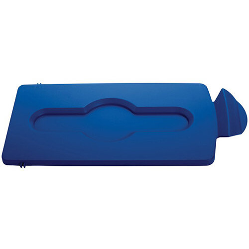 Rubbermaid Slim Jim Recycling Station Stream Topper Blue Closed Lid